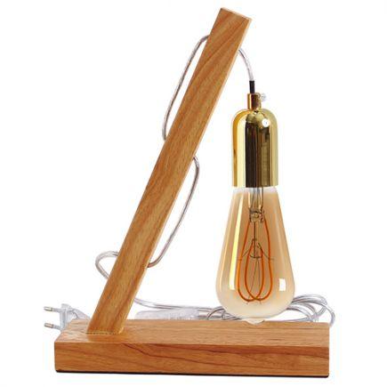 Pack lampe Bois 18471 + Ampoule Edison Filament LED LOOPS 5W E27 2000K 260lm Amb 716603
