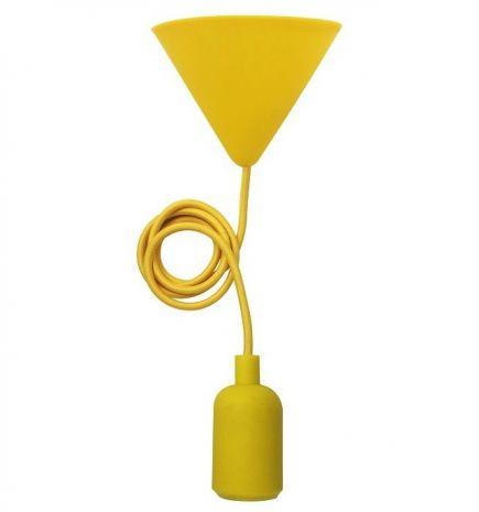 FS EcoWatts - Suspension E27 silicone câb. text. L.120cm jaune