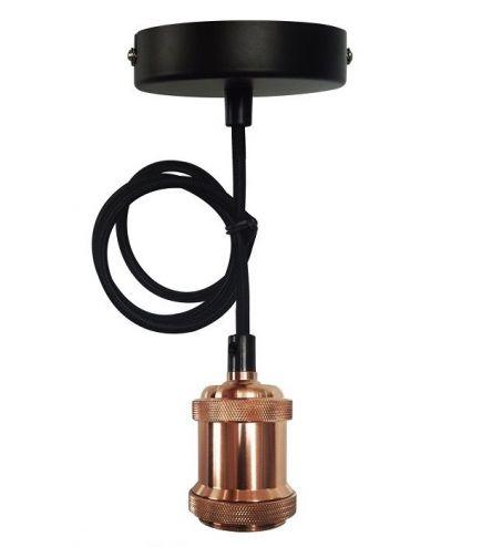 FS EcoWatts - Suspension E27 métal câb. text. L.100cm bronze
