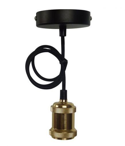 FS EcoWatts - Suspension E27 métal câb. text. L.100cm or