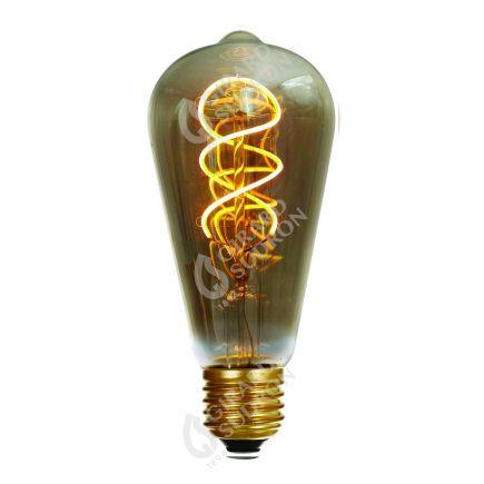 Edison Filament LED TWISTED 4W E27 2000K 200lm Dim. Smoky