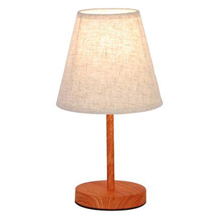 FS EL LAMPE À POSER E14 MAX.40W ABAT-JOUR LIN BLANC - PIEDS BOIS FONC