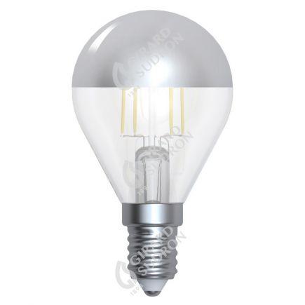 """Sferica G45 Filamento LED """"Calotta argento"""" 4W E14 2700K 350Lm Dim."""
