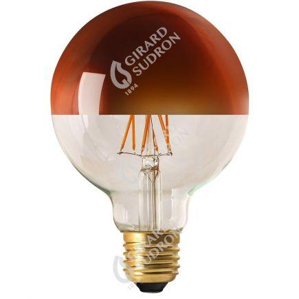 "Globe D95 Filamento LED ""Calotta bronzo"" 8W E27 2700K 950Lm Dim."