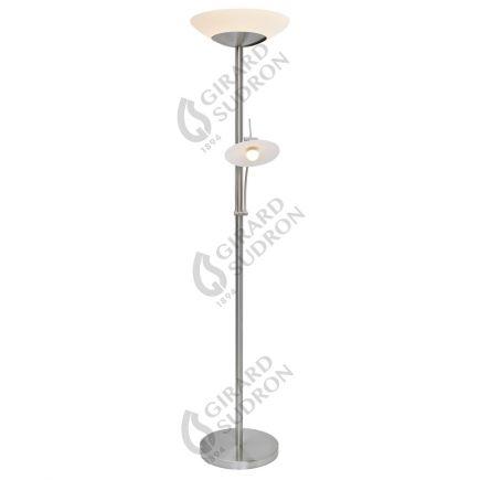 Carpo - Lampada da terra LED con lampada di lettura Ø400x1810 42+4.5W 3000K 4400+400lm 120° nickel satinato Dim
