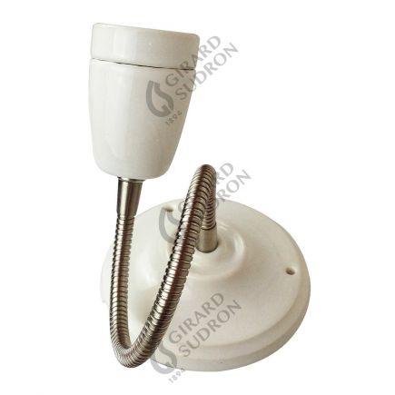 Applique E27 porcelaine blanche + tube flexible chromé