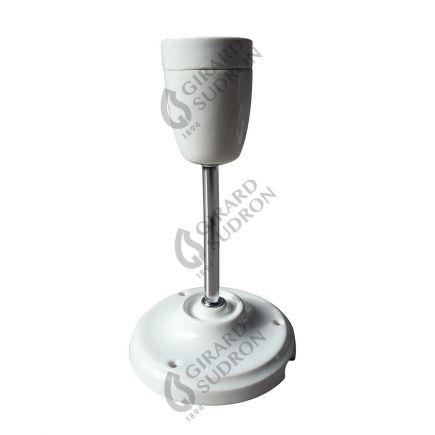 Suspension E27 et pavillon porcelaine blanche sur tube rigide