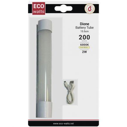 Dione - EcoWatts - Tubi batteria LED 155x33.5x39 2W 6000K 200-100-20lm 120° argento Dim