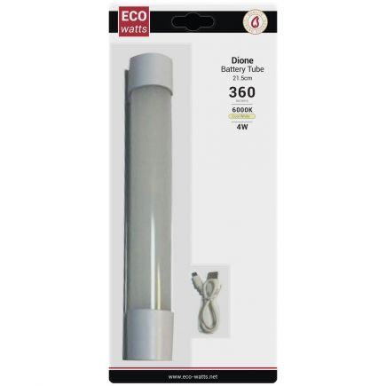 Dione - EcoWatts - Tubi batteria LED 215x33.5x39 4W 6000K 360-180-36lm 120° argento Dim