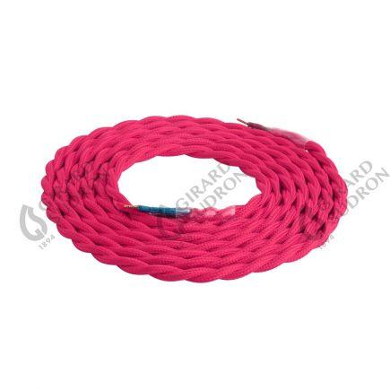 Câble textile torsadé 2 x 0,75 mm2 rose L. 2 m ø 6,5 mm