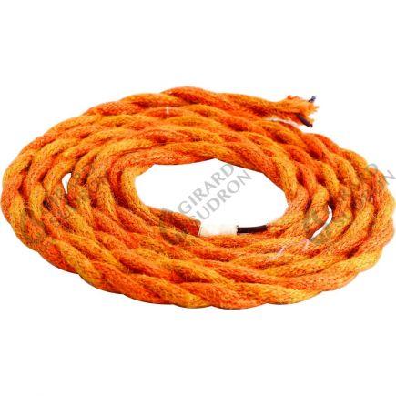 Câble textile torsadé 2 x 0,75 mm2 orange L. 2 m ø 6,5 mm