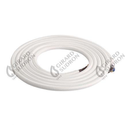 Câble textile rond double isolation 2 x 0,75 mm2 blanc L. 2 m ø 6 mm