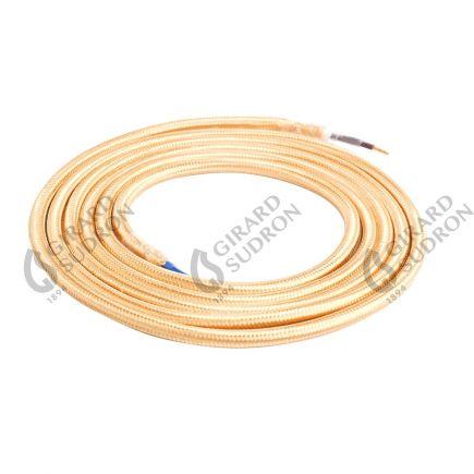 Câble textile rond double isolation 2 x 0,75 mm2 beige L. 2 m ø 6 mm
