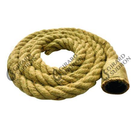 Câble torsadé 2 x 0,75 mm2 chanvre naturel avec douille E27 L. 2 m ø 25 mm