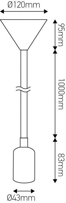 FS EcoWatts - Suspension E27 silicone câb. text. L.120cm bleu