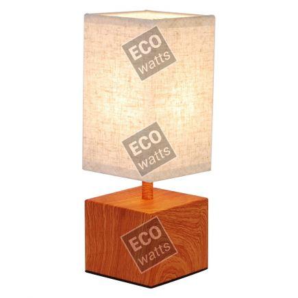 FS EL Lampe à poser E14 Max.40W abat-jour Lin Blanc - pieds Bois foncé- cable PVC L.120cm avec inter. Noi