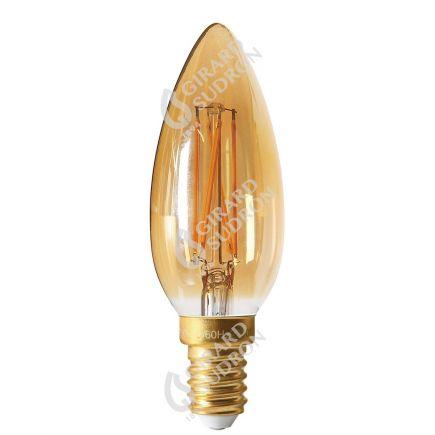 Flamme Lisse C35 Filament LED 5W E14 2200K 500lm Ambre