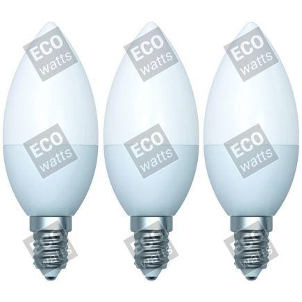 Ecowatts - Fiamma C35 (3 pezzi) LED 270° 5W E14 2700K 400Lm Opaca