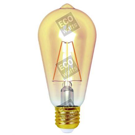 Ecowatts - Edison Filamento LED 4W E27 2200K 320Lm Dim. Amb.
