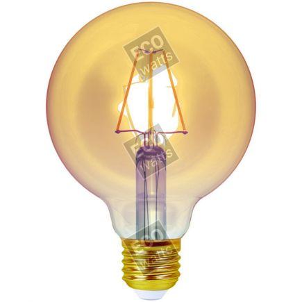 Ecowatts - Globe G95 Filamento LED 4W E27 2200K 320Lm Dim. Amb.