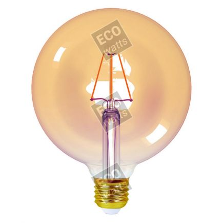 Ecowatts - Globe G125 Filamento LED 4W E27 2200K 360Lm Dim. Amb.