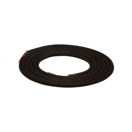 Câble textile rond double isolation 2 x 0,75 mm2 noir L. 2 m ø 6 mm