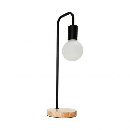 FS Lampe à poser E27 Max.60W Noir - pieds Bois clair - cable PVC L.200cm avec inter. Noir