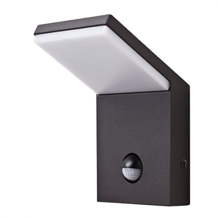 Jabbah - LED wall lamp with PIR 100x105x164 9W 4000K 690lm dark grey